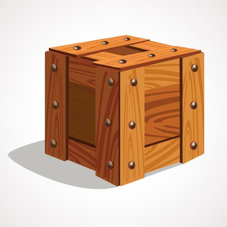 Cartoon wooden box. Vector illustration