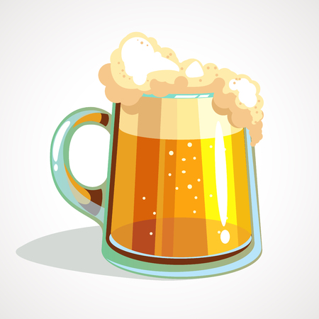Cartoon vector glass of beer on a white background