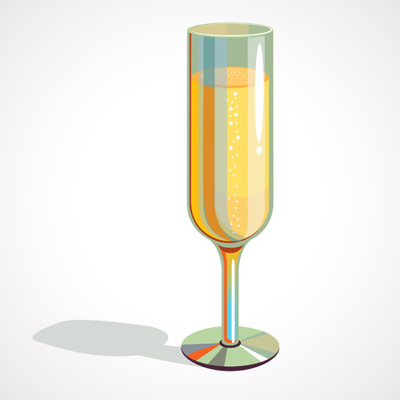 full glass of champagne isolated on a transparent background Banco de Imagens
