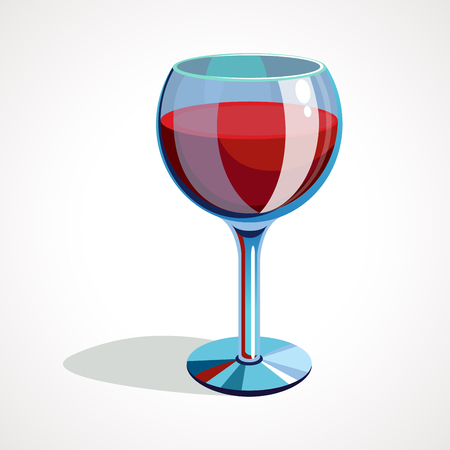 Cartoon glass is full of red wine. vector illustration