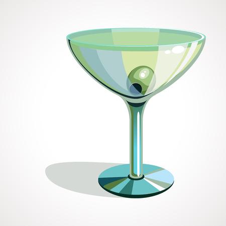 Realistic vector illustration isolated on white martini glasses with olives Ilustração