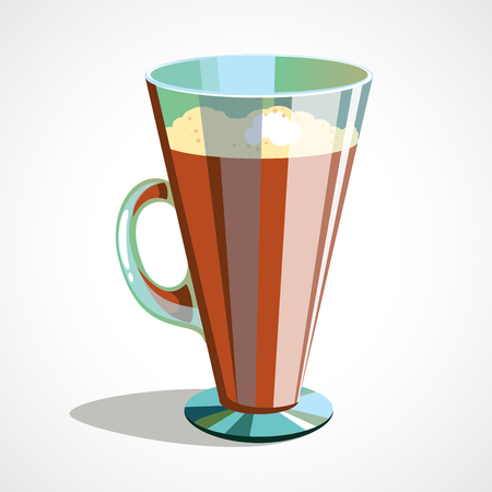 Cartoon illustration of coffee latte in glass. Vector illustration Ilustração