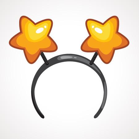 Icône de bandeau de dessin animé avec des oreilles en forme d'étoile. Illustration vectorielle. Cerceau de dessin animé pour cheveux avec coeurs Bandeaux de dessin animé avec oreilles. Décor de tête pour la fête