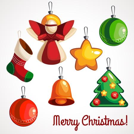 Christmas tree decorations isolated on white background vector illustration set. Winter Holidays and Celebrations concept. Ilustração