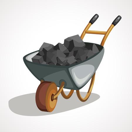 Cartoon wheelbarrow with coal. Vector cartoon illustration.