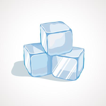 Cartoon blue ice cubes. Vector illustration Çizim