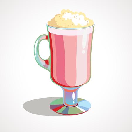 Cartoon Milkshake with whipped cream. Vector illustration