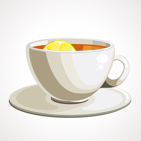 White cup of tea with lemon. Vector illustration