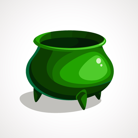 Green pot, front view. St. Patrick s day design element, vector illustration Ilustrace