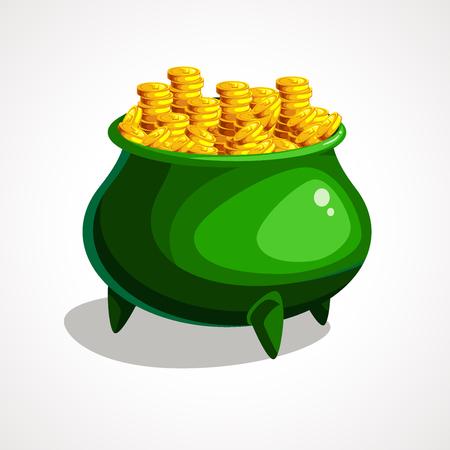 Cartoon illustration of green pot. St Patrick s day. Vector illustration