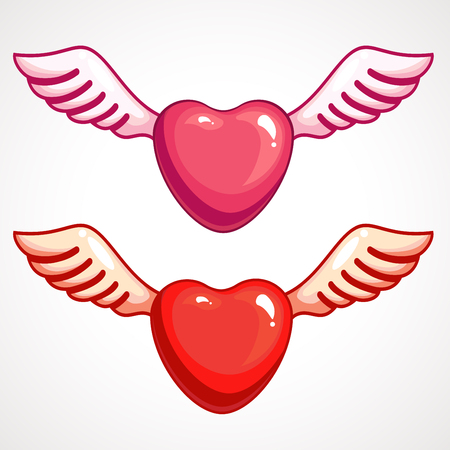 Heart with wings pink and red colors. Valentine s Day vector illustration.