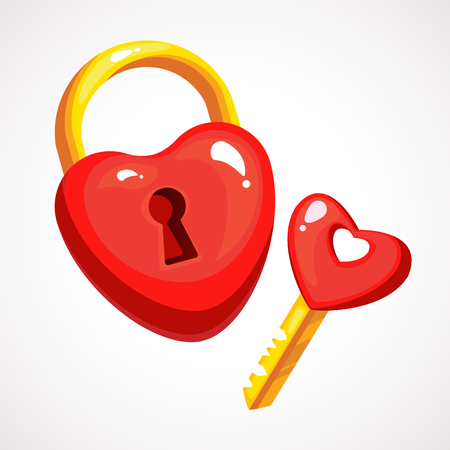 Valentines Day Heart Lock And Key Red On White Background