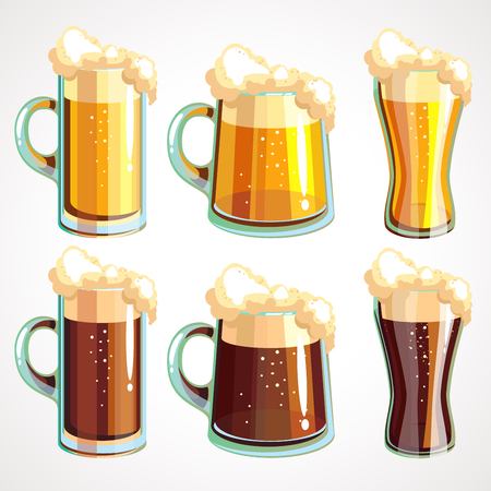 Set of beer glasses and beer mugs icons. Dark and light beer