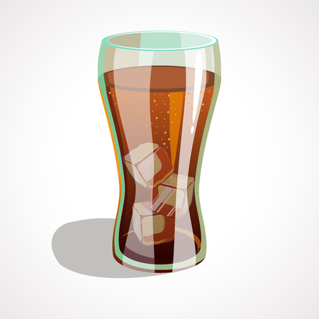 Cola glass with ice cubes isolated. Vector illustration