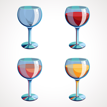 Set wine glasses empty, with white, pink and red wine. Vector illustration