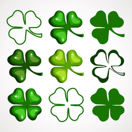 A Cartoon set of clover leaves. Vector illustration. Patrick s Day Celebration