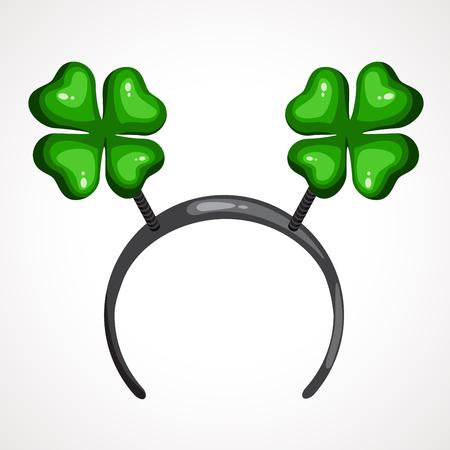 Cartoon headband icon with Clover shape ears. Vector illustration. Head decor for party time. Patrick s day Ilustração