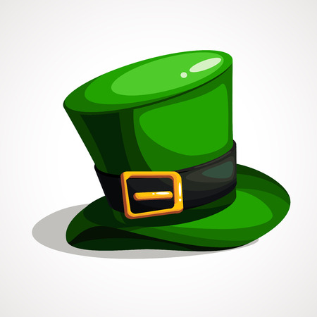Vector flat design on Saint Patrick s Day leprechaun s green hat illustration. Hat is a cylinder