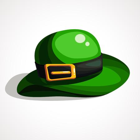 Cartoon Vector illustration. Saint Patrick s Day leprechaun s green hat. Hat bowler Çizim