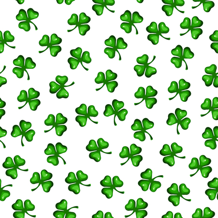 Seamless texture of clover leaves. St Patrick s Day Clover seamless pattern. Vector illustration