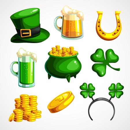 A set of symbols for the of St. Patrick s Day. Vector illustration Ilustração