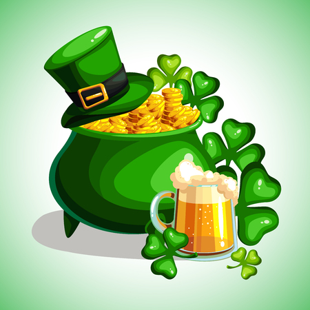 St. Patrick s Day cartoon poster. Treasures of leprechaun. Vector illustration