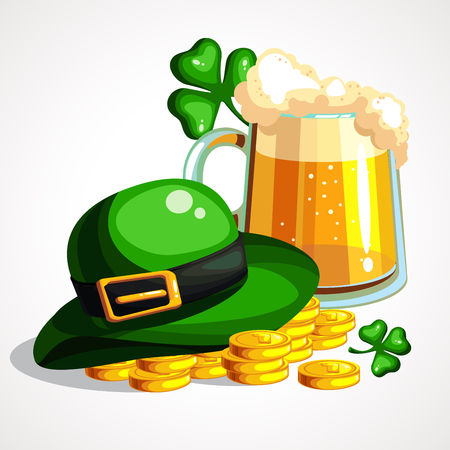 Cartoon composition of beer, gold and hat of leprechaun. Vector illustration