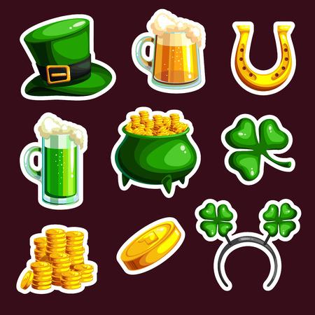 St. Patrick s Day vector design elements set. Cartoon style. Vector illustration Ilustração
