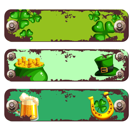 Banners with rust and screws for St. Patrick s Day. Vector illustration Ilustração