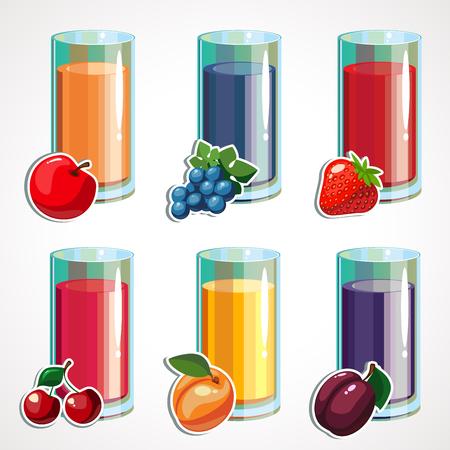 A cartoon set of fruit juices in a glass. Vector illustration Ilustração