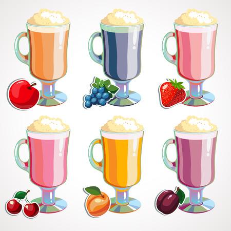 Set Cartoon fruit milkshakes. Vector illustration