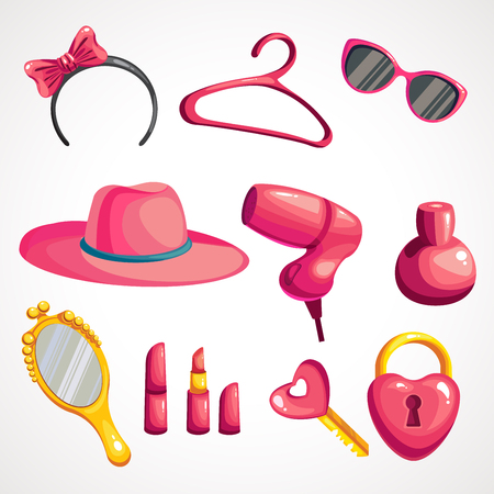 Vector colorful illustration of set of things for girls