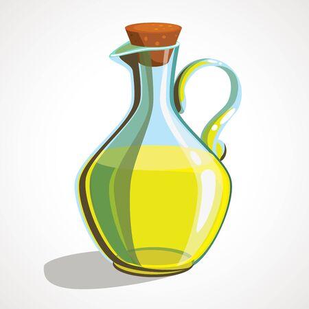 Cartoon icon bottle of oil. Olive oil.
