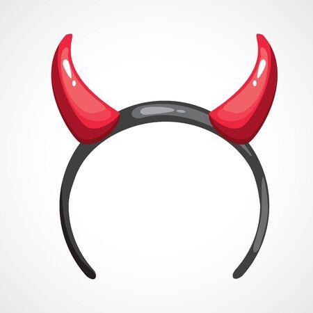 Cartoon headband icon with devil horns. Vector illustration. Head decor for party time. Halloween mask. Ilustrace