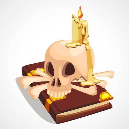 Cartoon composition with skulls, candles and books. Vector illustration.