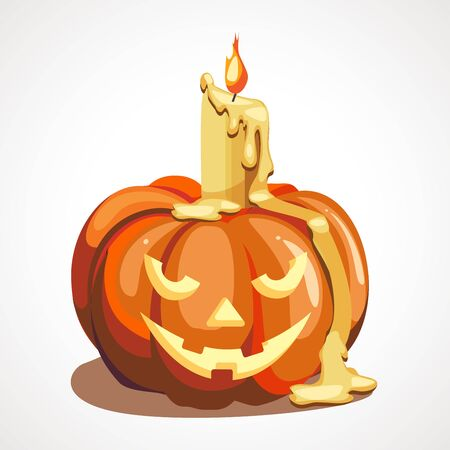 Cartoon halloween pumpkin with candle decor for party time. Vector illustration. Çizim