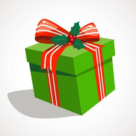 Cartoon box with christmas gift. Vector illustration.