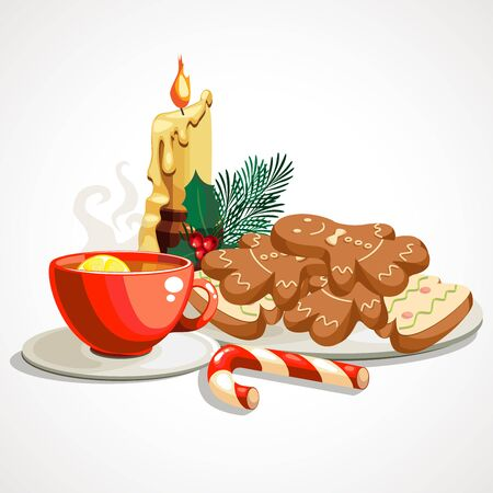 Cartoon composition of Christmas gingerbread and cup of tea. Vector illustration.