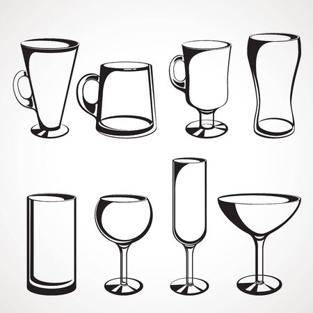 Set of glasses for alcoholic drinks Ilustrace
