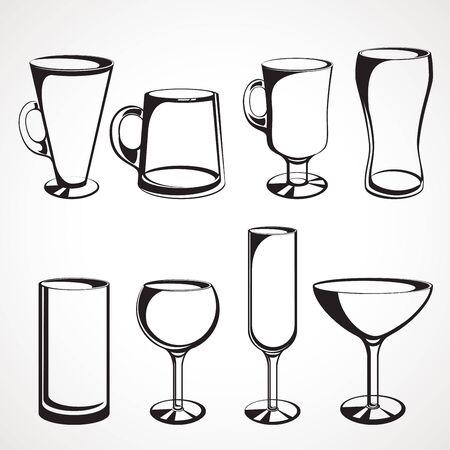 Set of glasses for alcoholic drinks Çizim
