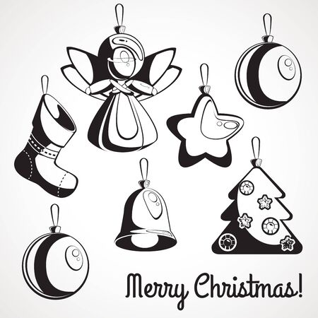 Set of stencils of Christmas decorations. decor for party time.
