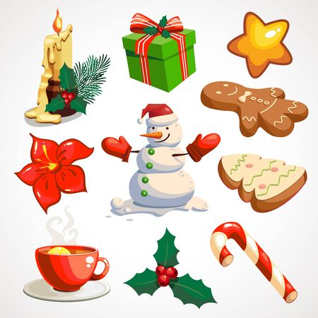 Cartoon set of Christmas attributes. Vector icons. decor for party time.