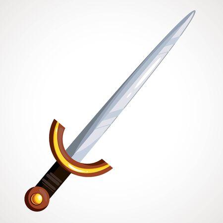 Cartoon slim medieval sword. Vector illustration