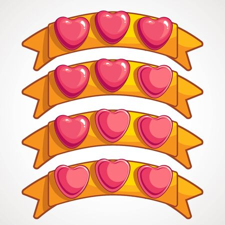 Cool cartoon glassy pink hearts on gold ribbon, ranking game elements