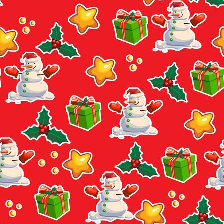 Seamless Christmas pattern, red background, Christmas attributes. Vector illustration.