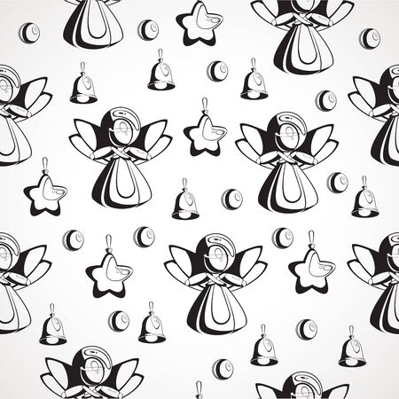 Seamless texture black and white image of Christmas Ilustrace
