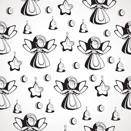 Seamless texture black and white image of Christmas Çizim