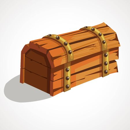 Closed old treasure chest. Wild West. Vector illustration.