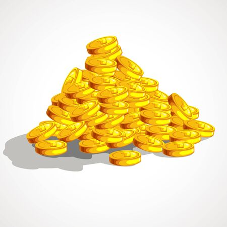 Cartoon pile of gold coins. Pirate gold. Vector illustration.