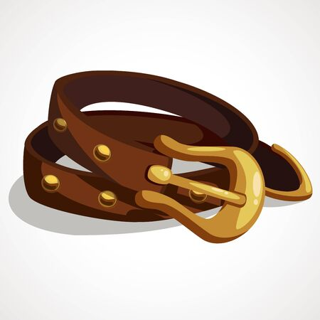 Cartoon leather belt with metal buckle. Vector illustration 일러스트